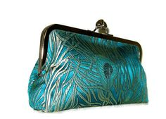 Teal Peacock Feather CLUTCH PURSE Handmade by Cutie by cutiegirlie, $45.00