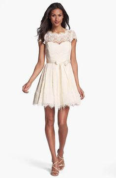 Xscape Illusion Yoke Lace Fit & Flare Dress | Nordstrom - beautiful rehearsal dinner dress!