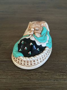 """Vintage #Pendelfin """"Poppet"""" Hand Painted Stonecraft Rabbit Figurine. Such a cutie! #Poppet is sleeping peacefully in her bed, sucking her thumb, wrapped in her favorite blank... #pendelfin #poppet"""