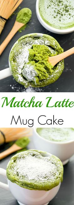 Matcha Latte Mug Cake. A single serving matcha latte flavored mug cake that cooks in the microwave in one minute.