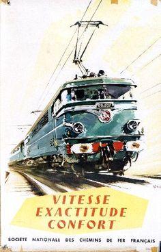 Brenet - Vitesse Exactitude Confort - 1960 vintage train poster