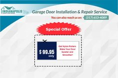 Avail Special offer on ‪Garage Door Repair‬- Get Nylon Rollers Make Your Door Quieter and Smoother in Indianapolis