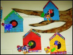 Painted paper and geometric shapes to create birds and birdhouses