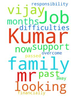 Mr. Vijay Kumar is looking for a Job for - Mr. Vijay Kumar is looking for a Job for the past few months. His father passed away. And now he has the responsibility to support his family financially. Let us pray for his family to overcome all the difficulties.  Posted at: https://prayerrequest.com/t/Cd1 #pray #prayer #request #prayerrequest