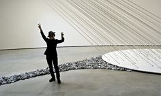 Yoko Ono at her Guggenheim Riverbed exhibit