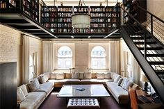 loft with wall of books