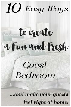 Creating a Fun and Fresh Guest Bedroom is easy with these 10 instant updates! Your overnight guests will feel special and right at home! Fabulous Guest room decorating ideas. #spon