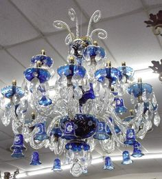 Cobalt Blue Glass Crystal Chandelier