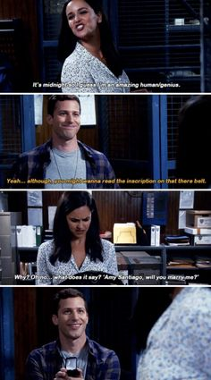 When Jake surprises Amy during the Halloween heist by proposing to her on Brooklyn Nine-Nine: 27 TV Moments That Will Surely Melt Your Cold, Dead Heart Brooklyn Nine Nine Funny, Brooklyn 9 9, Jake And Amy, Jake Peralta, Andy Samberg, Parks N Rec, Cinema, Cultura Pop, Babe