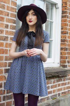 maroon Accessorize hat - black new look boots - sky blue Topshop dress