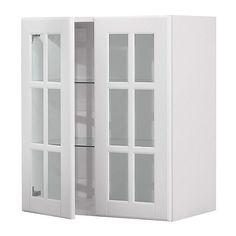 FAKTUM Seinäkaappi + 2 vitriiniovea - Lidingö luonnonvalkoinen, 60x70 cm - IKEA