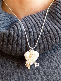 The Key to my Heart/ Essential Oil Diffuser Necklace-Aromatherapy Locket by AstroScent on Etsy