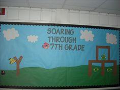 Angry Birds Bulletin Board. Really cute idea for middle/high school