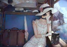 Anime Original Short Hair Girl Umbrella Wallpaper We Heart It, Image Painting, Strip, Dress Gloves, Train Rides, Romance Novels, Lolita Fashion, Retro Fashion, Nice Tops