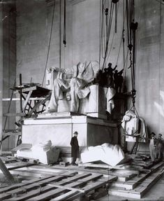 The statue of Abraham Lincoln being installed at the Lincoln Memorial in 1920.