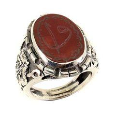"""♔ Arabic Writing Jewellery:Doğal Akik Taşlı , """"Elif ile Vav"""" Yazılı , El Yapımı"""