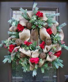 Burlap Christmas Wreath, Winter Burlap Wreath, Rustic Country, Christmas Wreath, Red Burlap Wreath. $154.00, via Etsy.
