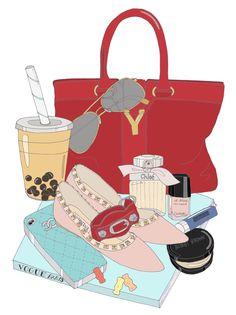 Custom WIMB mini poster by EmmaKisstina, Portrait Illustration, Illustration Sketches, Illustrations Posters, Illustration Fashion, Fashion Illustrations, What In My Bag, Artist Art, My Bags, Fashion Art
