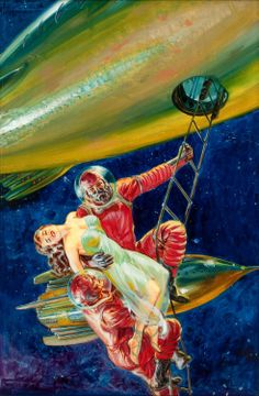 Sci-fi pulp art by Norm Saunders. Such wonderful colors.