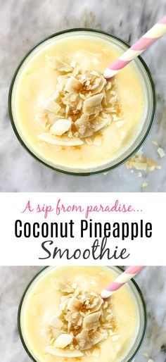 Coconut Pineapple Smoothie: Every Sip is Like Taking a Vacation Pineapple Coconut Smoothie: a simple and healthy breakfast or snack that will taste like a vacation Pineapple Smoothie Recipes, Best Smoothie Recipes, Coconut Smoothie, Fruit Smoothies, Healthy Smoothies, Healthy Drinks, Healthy Snacks, Healthy Recipes, Coconut Drinks