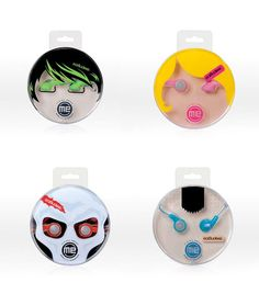 """Face earphones packaging - """"Audiovox found that customers choose their earbuds like a fashion accessory and packaging is key to their choice."""" - EarBudeez series for Audiovox, developed by JDA, USA"""