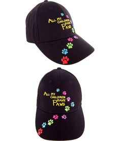 The Animal Rescue Site — Store — All My Children Have Paws Embroidered Baseball Hat (100% cotton; adjustable silver-tone buckle) [Funds 14 bowls of food.]