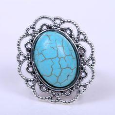 Euro americano elegante jóias de prata tibetano oco esculpida flor embutidos Oval turquesa anel ajustável presente para mulheres em Anéis de Jóias no AliExpress.com | Alibaba Group