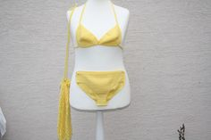 Bademode - Mode Strandmode Bikini gehäkelt gelb Strandbeutel  - ein Designerstück von trixies-zauberhafte-Welten bei DaWanda