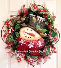 Christmas Wreath Winter Wreath Deco Mesh Wreath by DawslynDecor