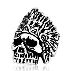 Steel Indian Skull Rings