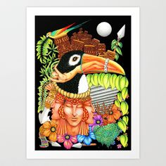 Toucan Fantasy Art Design Art Print by Bluedarkat Lem - $15.98