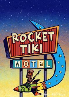 Fun modern parody of Googie style motel sign