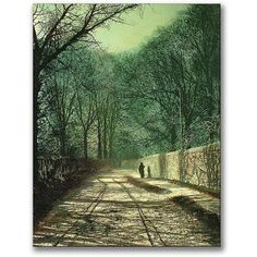 Trademark Fine Art Tree Shadows In The Park Wall Canvas Wall Art by John Atkinson Grimshaw, Size: 18 x 24, Multicolor