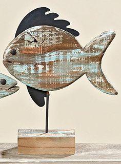 Deko Aufsteller Fisch aus Holz 30 x 37 cm: Amazon.de: Küche & Haushalt Fish Crafts, Diy And Crafts, Arts And Crafts, Barn Wood Crafts, Wooden Crafts, Driftwood Fish, Wood Craft Patterns, Wooden Fish, Lake Decor