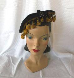 1950's Vintage Tasseled Beret Hat with Rhinestones Adrienne Exclusive