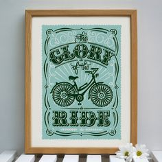 Looking for unique cycling gifts? Whether it's something to hang on their bike or an idea for their home, you'll find inspiration here. Bicycle Print, Deco, Vintage Signs, Hand Lettering, Giclee Print, Screen Printing, Graphic Design, Photo And Video, Creative