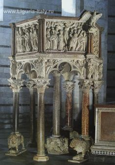 """""""Pulpit,"""" commissioned by the Opera of the Siena Cathedral. by Nicola Pisano. Nicola Pisano, Siena Cathedral, The Last Judgment, Ages Of Man, Catherine Of Aragon, Web Gallery, European Paintings, Corinthian, Romanesque"""