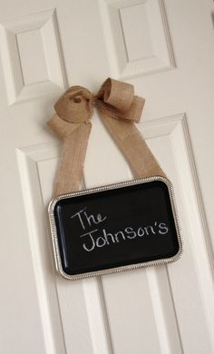 Chic Hanging Silver Magnetic Chalk Board with burlap bow
