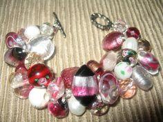 ~SerebaDesigns~  Lamp work Beaded BANGLE - Wine - Cranberry - Black - White - Fiber art, Chunky Glass Beads Hand Knitted Bracelet.  - $62.00