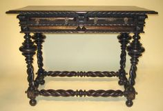 19th century Portuguese carved rosewood table with bronze mountings