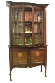 Exquisite Art Nouveau Marquetry Cabinet Iconic Majorelle Style -Provenance Antique Buffet, Antique Cabinets, Vintage Bookcase, Vintage Cabinet, French Sideboard, Mahogany Cabinets, Art Nouveau Furniture, Mirror Panels, Small Cabinet