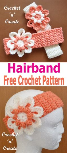 A FREE adult crochet hairband pattern. #crochetncreate #crochetheadband #freecrochetpatterns