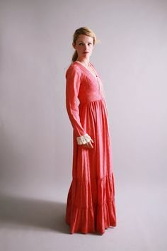 1970s gunne sax dress / 70s red calico prairie dress / Pioneer Girls. $120.00, via Etsy.