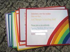 DIY Rainbow Birthday Invitations