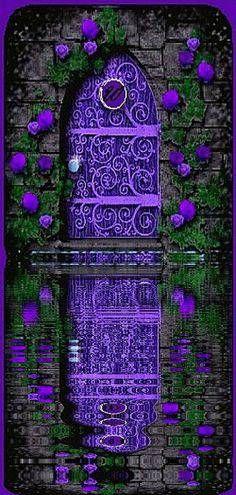how beautiful is this purple door reflecting on the water Cool Doors, The Doors, Unique Doors, Windows And Doors, Front Doors, Purple Door, Purple Haze, Shades Of Purple, Bright Purple
