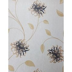 Enzo Floral Cream/ Gold Wallpaper - 15128 Cream And Gold Wallpaper, Striped Wallpaper, Flower Wallpaper, How To Hang Wallpaper, Vinyl Wallpaper, Room Wallpaper, Neutral Colors, Colours, Gold Flowers