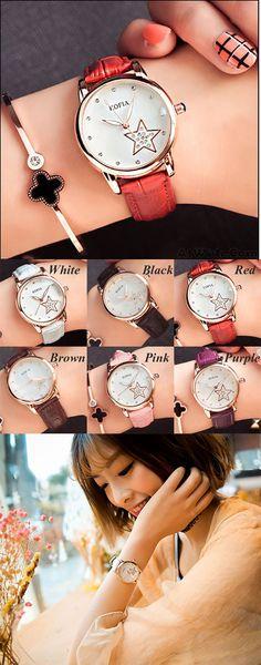 Fashion Diamond Quartz Cortical Star Luminous Waterproof Women Wrist Watch is so cute ! #star #diamond #fashion #watch #gift