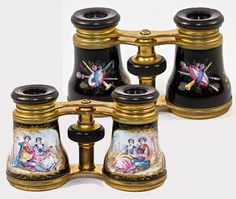 Antique French Kiln-Fired Enamel Opera Glasses and Case  c. Late 1800's-Earliest 1900's