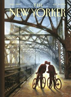 """Fifty-ninth Street Bridge,"" by Eric Drooker, cover art for The New Yorker, July The New Yorker, New Yorker Covers, Capas New Yorker, Poster Prints, Framed Prints, Vintage New York, July 28, Art Prints For Sale, Cycling Art"