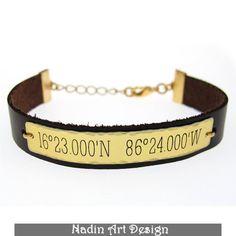 Armreife - GPS Breite Länge Gravur. Lederarmband für Männer - ein Designerstück von NadinArtDesign bei DaWanda